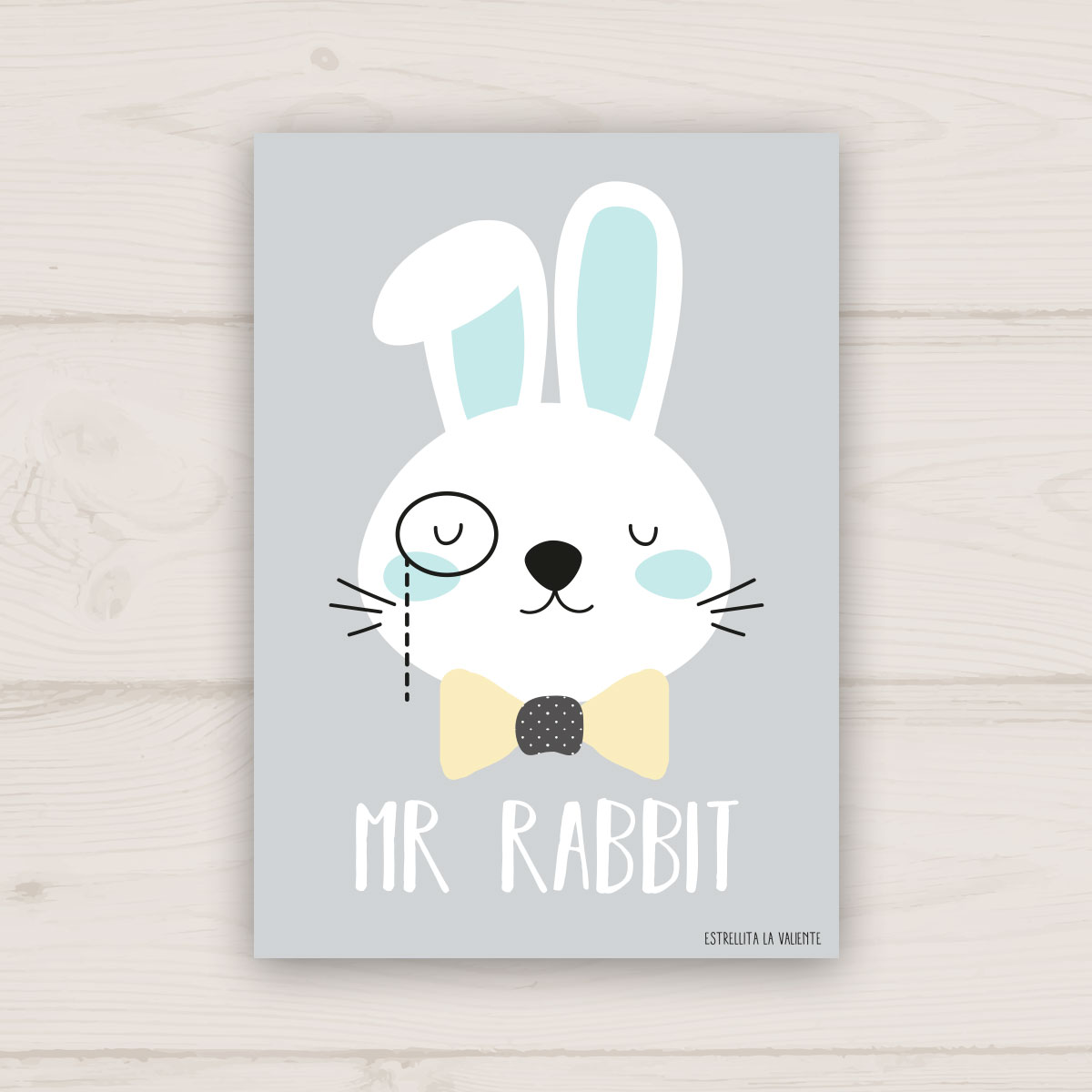 Lámina conejo Mr Rabbit gris