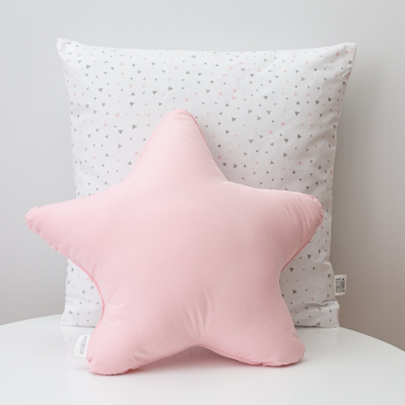 Cojines triángulos mint y estrella rosa