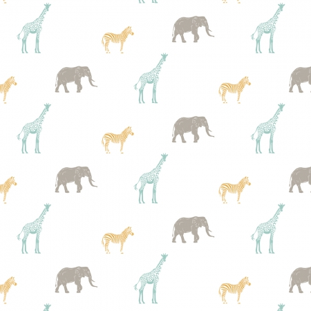 Papel pintado animales de la sabana fondo blanco