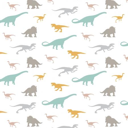 Papel pintado dinosaurios fondo blanco