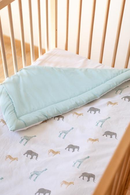 Cobertor cuna animales de la sabana reversible mint