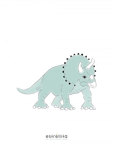 Lámina triceratops fondo blanco sin marco