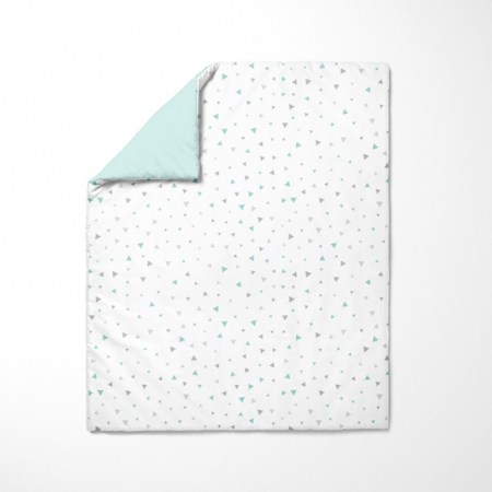 Funda nórdica para bebé Triángulos gris y mint