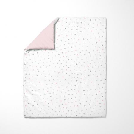 Funda nórdica de cuna Triángulos gris y rosa