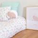 Ropa de cama flores y lámina y cojín conejo rosa