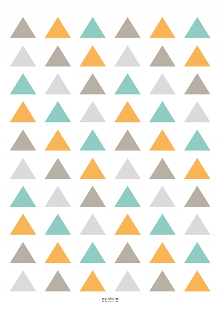 Diseños vinilos infantiles Triángulos mostaza y gris