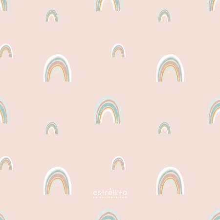 Papel pintado arco iris fondo rosa