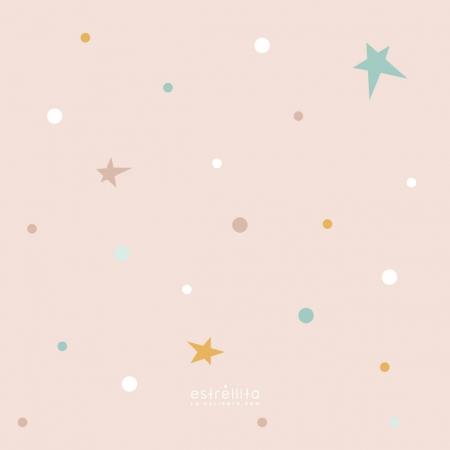 Papel pintado estrellas fondo rosa
