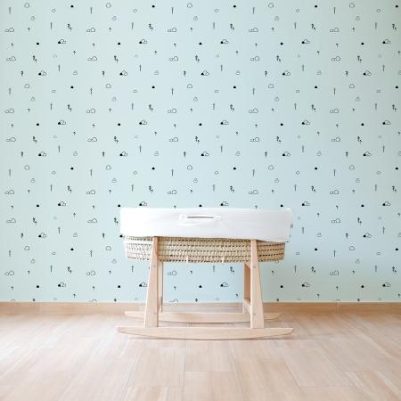 Papel pintado fondo mint con siluetas de árboles