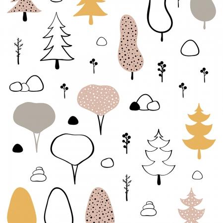 Vinilos árboles de colores sobre fondo blanco