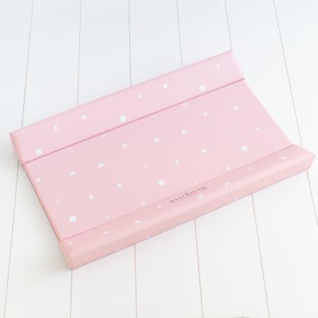 Cambiador casa bebé rosa con estrellas blancas