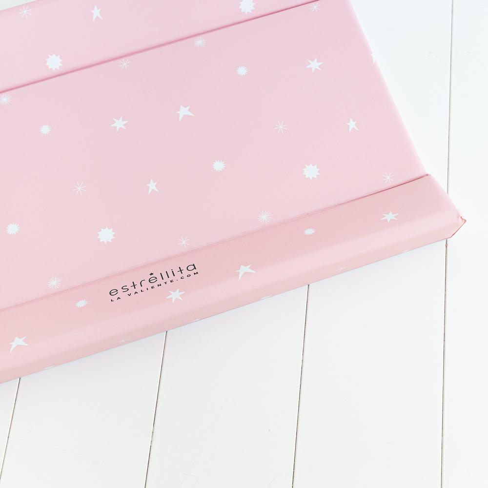 Cambiador bebé rosa con estrellas blancas