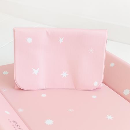 Cambiadores bebé rosa con estrellas blancas