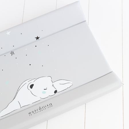 Cambiador bebé gris oso polar
