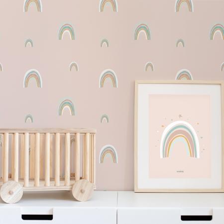 Papel pintado infantil fondo rosa con arco iris