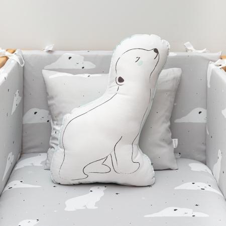 Conjunto de cojines en color gris con oso polar