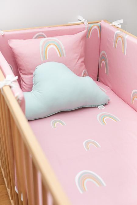 Juego de cuna rosa con arco iris