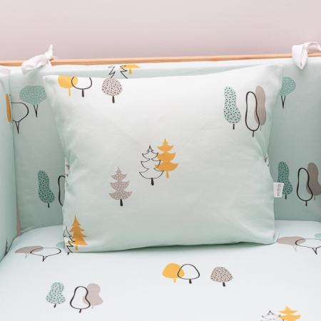 Protectores para cuna a juego con sábana y cojines color mint