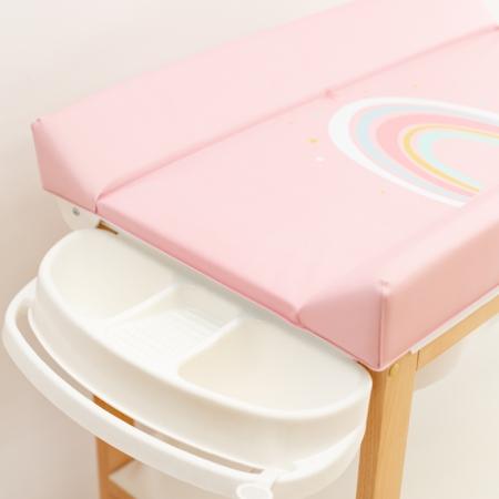 Bañera y cambiador rosa arco iris