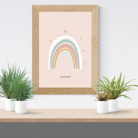 Lámina infantil arco iris rosa con marco