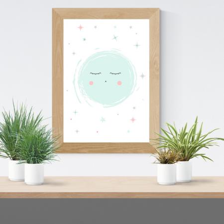 Lámina infantil luna azul con marco