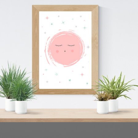 Lámina infantil luna rosa con marco