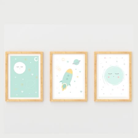 Láminas infantiles surtido espacio y noche con marco