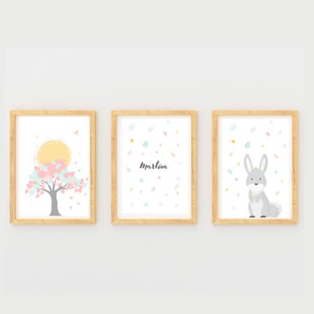 Láminas infantiles naturaleza y nombre niña con marco