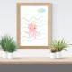 Láminas infantiles pulpo rosa con marco
