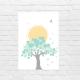 Lámina infantil árbol con sol sin marco