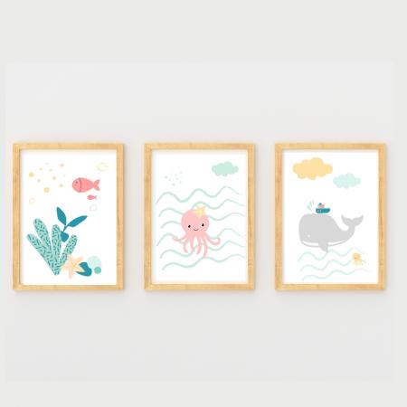 Surtido láminas infantiles animales marinos con marco