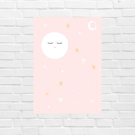 Lámina infantil noche rosa sin marco