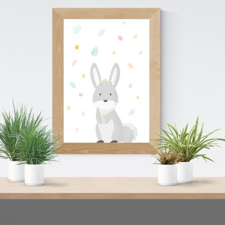 Lámina infantil coneja gris con marco
