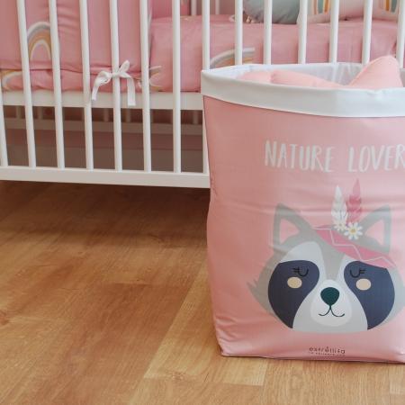 Cesto almacenaje infantil rosa