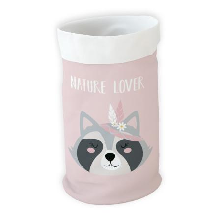 Cesto almacenaje infantil mapache rosa