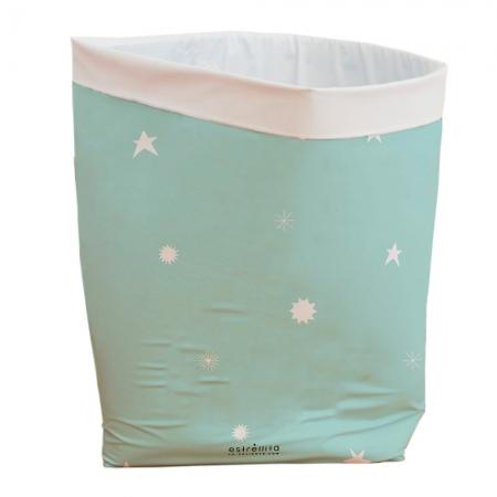 Cesto almacenaje infantil-grande mint estrellas blancas