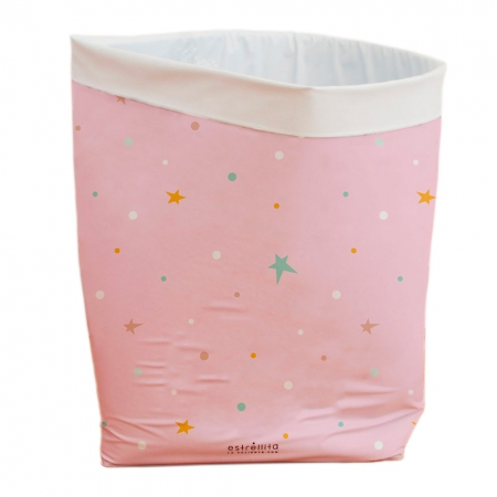 Cesto almacenaje rosa con estrellas