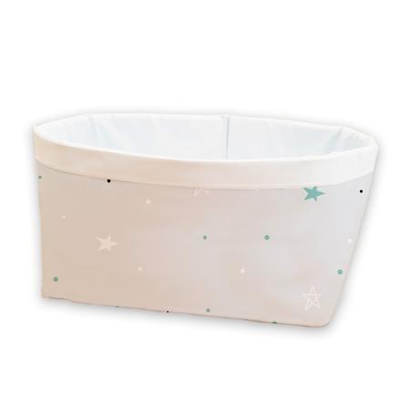 Cesto infantil pequeño gris con estrellas