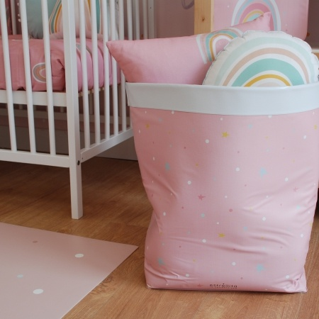 Cesto juguetero rosa estrellas