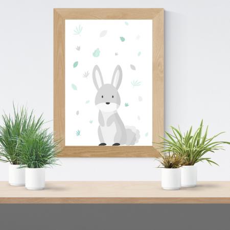 Lámina infantil conejo gris con marco