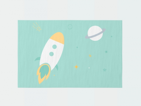 Alfombra infantil rectangular cohete