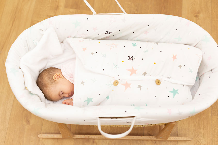 Saco bebé polar Noche estrellada rosa