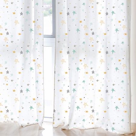 Cortina decoración habitación niños Noche estrellada mostaza