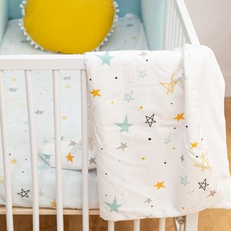 Textil bebé noche estrellada mostaza