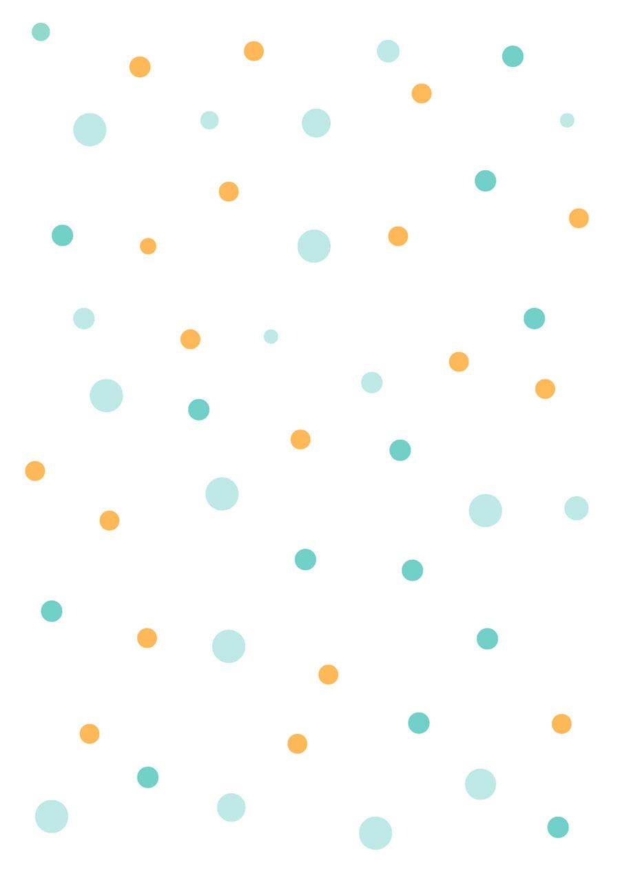 Papel pintado topos multicolor mostaza