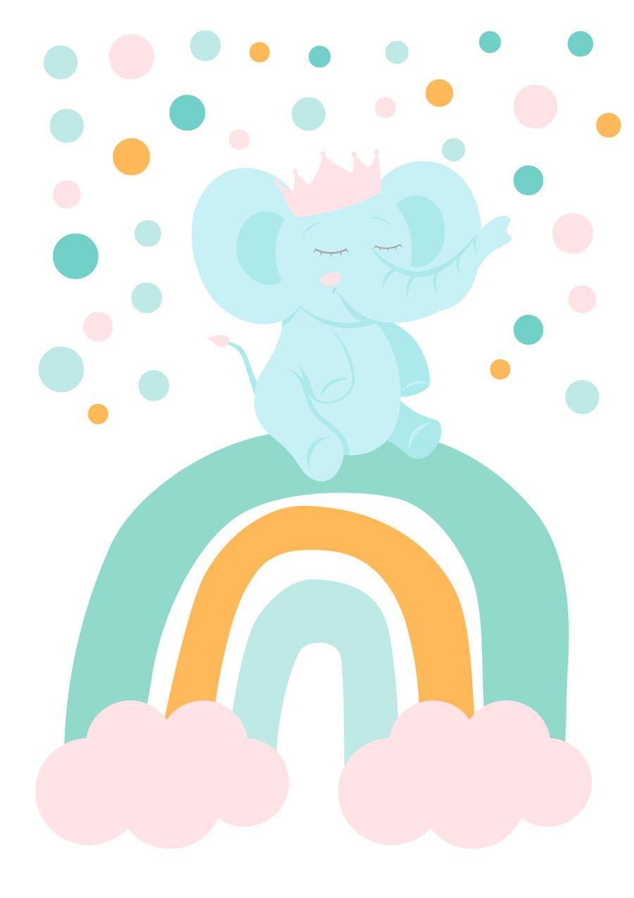 Vinilo arco iris elefante rosa